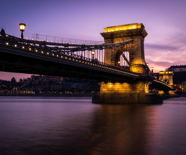 Chain bridge after sunset - Budapest, Hungary